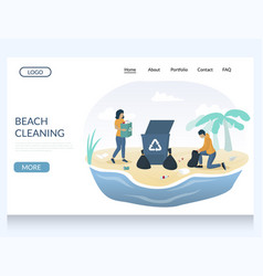 beach cleaning website landing page design vector image