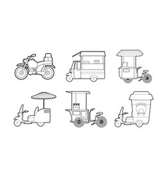 bike icon set outline style vector image
