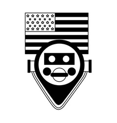 Binocular viewer new york american flag vector