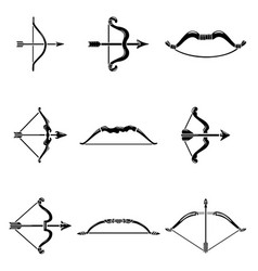 bow arrow weapon icons set simple style vector image
