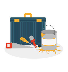 box with construction tools icon design vector image