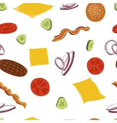 Burgers and ingredients for cheeseburger seamless vector image