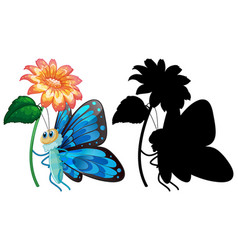 Butterfly with its silhouette vector