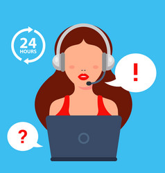 Call center girl answers client question vector
