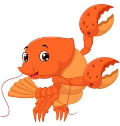 Cartoon lobster waving vector
