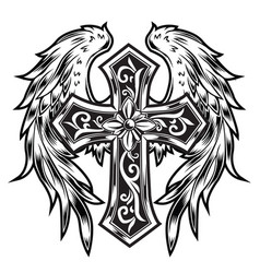 Christian cross wing graphic detailed angel or bi vector