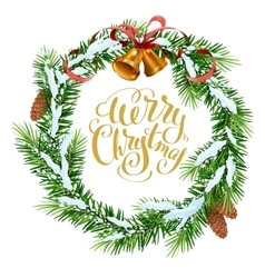 Christmas wreath of fir branches Merry Christmas vector image