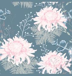 chrysanthemum fern and herbs pattern vector image