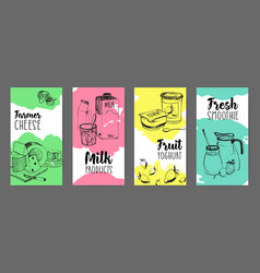 Collection of flyers with dairy products vector