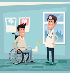 Color background hospital room with young man in vector