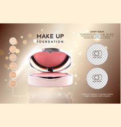 Cosmetic ads pink 3d cheek blush or make up vector