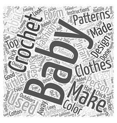 crochet baby patterns Word Cloud Concept vector image