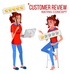 customer review happy and unhappy woman vector image