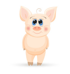 cute cartoon piglet on a while background vector image