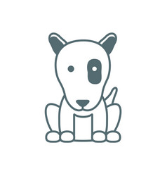 Cute little dog pit bull line style icon vector
