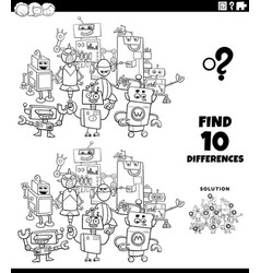 differences task with robots coloring book page vector image