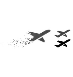 Dissolved dot halftone airplane takeoff icon vector
