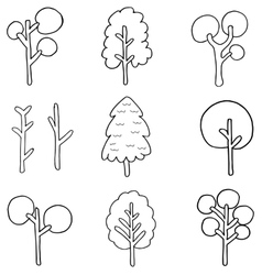 Doodle of simple tree set vector