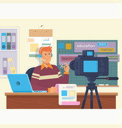 education video blog filming backstage concept vector image