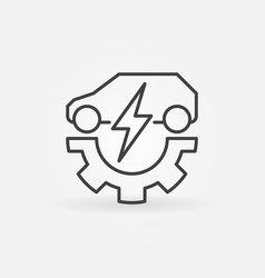 electric car with gear icon in thin line vector image