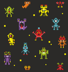 Endless backkground of pixel monsters vector
