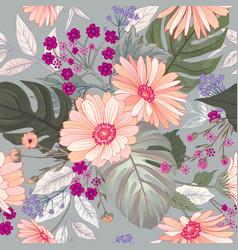 floral seamless pattern garden flower summer vector image