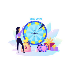 fortune wheel woman with presents and money big vector image