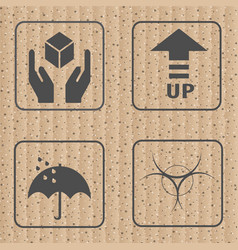 Fragile symbol and symbol of packing box icon vector