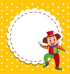 Frame template design with happy clown vector