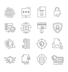 gdpr privacy policy icon set included icons vector image