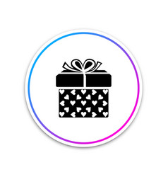 gift box and heart icon on white background vector image