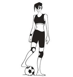 Girl playing football vector