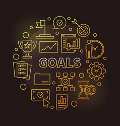 Goals golden circular vector