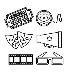 Hand draw mask glasses speaker reel ticket vector