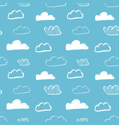 hand drawing clouds seamless pattern vector image