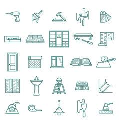 hand drawn home renovation icons set screwdriver vector image