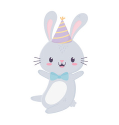 happy birthday cute rabbit party hat bow tie vector image