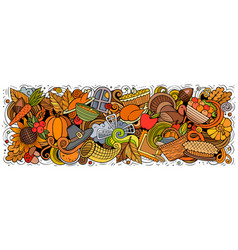happy thanksgiving hand drawn cartoon doodles vector image