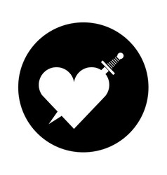 Heart love with sword romantic icon vector