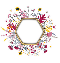hexagon frame with cute honey flowers and bees vector image