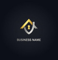 home realty lock secure gold logo vector image