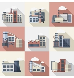 Industrial Buildings Set vector image