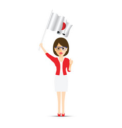 japan flag waving woman vector image