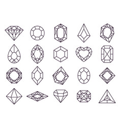 jewels diamond icons diamonds gems luxury jewel vector image