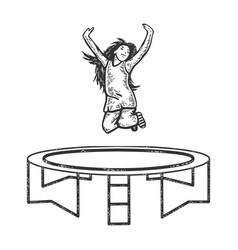 jumping child trampoline sketch engraving vector image