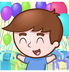 Kid celebrating birthday vector
