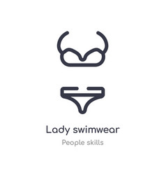 Lady swimwear outline icon isolated line from vector