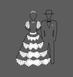linear silhouette of the bride and groom in a vector image