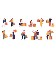 Man and women shopping with bagcartoon flat icon vector