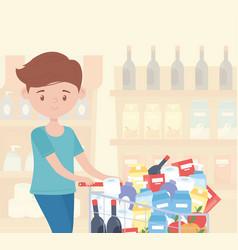 Man cartoon with full cart in supermarket food vector